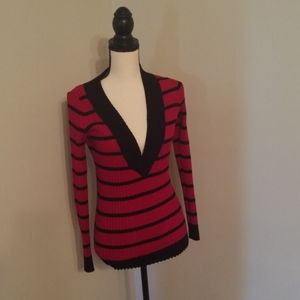 Juniors cute fitted red and black striped sweater
